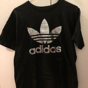 Black Adidas Silver Metallic Trefoil T Shirt
